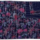 Queen Size Black Bird of Paradise Kantha Quilt Reversible Throw Bedspread Ralli