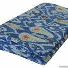Twin Size Handmade Ikat Kantha Quilt Blue Multicolor Cotton Throw Bedsheet