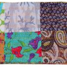 Twin Size Indian handmade Reversible Kantha Quilt Bedcover Patchwork Throw