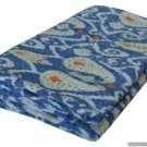Handmade Ikat Kantha Quilt Blue Multicolor Cotton Throw Queen Size Bedsheet