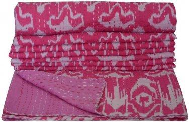 Indian Handmade Cotton Kantha Quilt Pink Ikat Kantha Bedcover Queen Size Throw