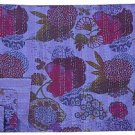 Indian Queen Size Floral Print Purple Kantha Quilt Reversible Throw Bedspread