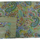 Handmade Indian Beige Paisley Cotton Kantha Quilt Reversible Queen Size Throw