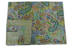 Handmade Indian Beige Paisley Cotton Kantha Quilt Reversible Queen Size Throw