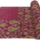 Handmade Ikat Kantha Quilt Pink Multicolor Cotton Throw Queen Size Bedsheet