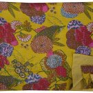 Indian Queen Size Floral Print Yellow Kantha Quilt Bedcover Throw Bedspread