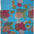 Indian Queen Size Turquoise Tropical Kantha Quilt Reversible Throw Bedspread