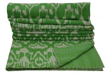 Indian Queen Size Handmade Green Ikat Kantha Quilt Cotton Throw Bedspread Ralli