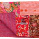 Twin Size Indian handmade Reversible Kantha Quilt Bedcover Floral Print Throw