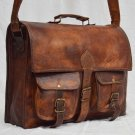 Real Leather Vintage Messenger Handmade Bag Cross Body Bag Briefcase Brown Bag