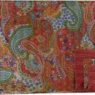 Indian Handmade Red Paisley Cotton Kantha Quilt Reversible Queen Size Throw