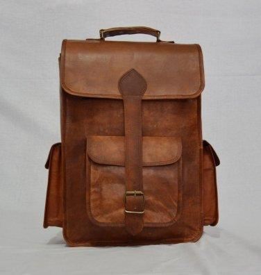 Real Leather Genuine Vintage Backpack handmade Messenger Rucksack Shoulder Bag