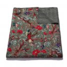 Queen Size Grey Bird of Paradise Kantha Quilt Reversible Throw Bedspread Gudri