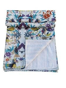 Queen Size Handmade Bird Print Kantha Quilt Reversible Bedspread Throw Ralli