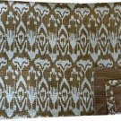 Indian Queen Size Handmade Brown Ikat Kantha Quilt Cotton Throw Bedspread Ralli