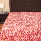 Queen Size Indian Handmade Cotton Kantha Quilt Orange Ikat Throw Bedspread Ralli
