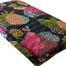 Twin Size Indian Black Tropicana Kantha Quilt Fruit Print Bedcover Throw Ralli