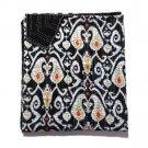 Twin Size Handmade Indian Ikat Kantha Quilt Reversible Throw Bedspread Gudri