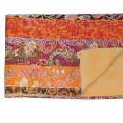 Indian Handmade Reversible Twin Size Kantha Quilt Floral Print Bedspread Throw