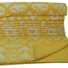 Indian Handmade Queen Size Yellow Ikat kantha Quilt Reversible Bedspread Throw