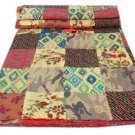 Queen Size Patchwork Kantha Quilt Floral Print Handmade Reversible Bedcover