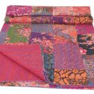 Indian Handmade Queen Size Patchwork Kantha Quilt Reversible Throw Bedspread