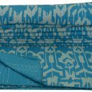 Handmade Indian Turquoise Ikat Kantha Quilt Reversible Queen Size Bedspread