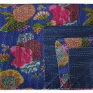 Indian Queen Size Blue Tropical Print Kantha Quilt Reversible Throw Bedspread