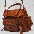 Handmade Vintage Messenger Real Leather Bag Shoulder Satchel Ladies Briefcase