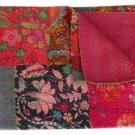 Twin Size Indian Handmade Reversible Patchwork kantha Quilt Ethnic Throw Ralli