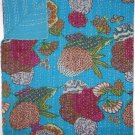 Indian Twin Size Turquoise Tropical Kantha Quilt Reversible Throw Bedspread Rall