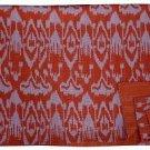 Indian Handmade Twin Size Orange Ikat Kantha Quilt Reversible Throw Bedspread