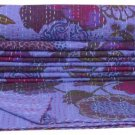 Twin Size Indian Floral Print Purple Kantha Quilt Reversible Throw Bedspread