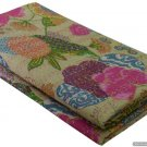 Indian Reversible Bedspread Twin Size Beige Tropical Kantha Quilt Throw Ralli