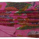 Indian Twin Size Pink Tropical Kantha Quilt Reversible Handmade Throw Bedcover