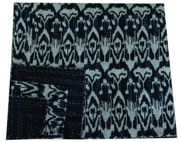 Black Ikat Kantha Quilt Handmade Reversible Throw Twin Size Bedspread Bedcover