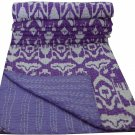 Twin Size Handmade Purple Ikat Kantha Quilt Reversible Sari Throw Bedspread