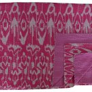 Indian Handmade Cotton Twin Size Kantha Quilt Pink Ikat Kantha Bedcove Throw