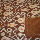 Brown Ikat Kantha Quilt Twin Size Handmade Cotton Throw Indian Bedspread Ralli