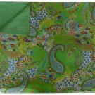 Twin Size Indian Green Paisley Kantha Quilt Handmade Reversible Throw Bedcover