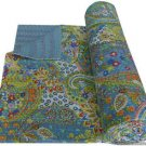 Indian Twin Size Grey Paisley Kantha Quilt Handmade Throw Reversible Bedspread