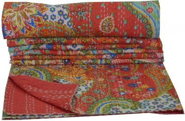 Twin Size Indian handmade Paisley Kantha Quilt Reversible Bedcover Throw Ralli