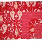 Indian Handmade Queen Size Red Ikat kantha Quilt Reversible Bedspread Throw