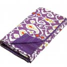 Queen Size Indian Handmade Purple Ikat kantha Quilt Reversible Bedspread Throw