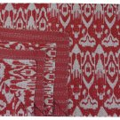 Queen Size Indian Handmade Red Ikat kantha Quilt Reversible Bedspread Throw