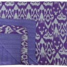 Handmade Indian Purple Ikat Kantha Quilt Reversible Queen Size Throw Bedspread