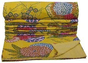 Indian Twin Size Tropical Yellow Kantha Quilt Floral Bedcover Throw Bedspread