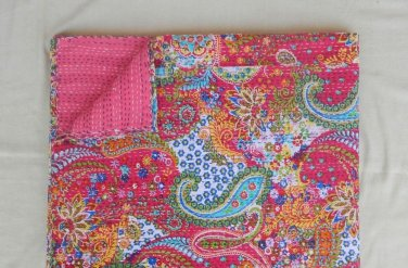 Handmade Indian Pink Paisley Cotton Kantha Quilt Reversible Twin Size Throw