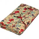 Twin Size Bird of Paradise Beige Kantha Quilt Reversible Throw  Bedspread Ralli