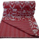 Indian Handmade Twin Size Red Ikat kantha Quilt Reversible Bedspread Throw Ralli